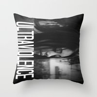 ultraviolence Throw Pillows featuring ULTRAVIOLENCE GIRL. by Beauty Killer Art