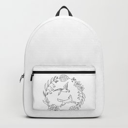 Fox and Loon Playing in Floral Wreath Design — Floral Wreath with Animals Illustration Backpack