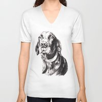 charlie V-neck T-shirts featuring Charlie by Hana Robinson