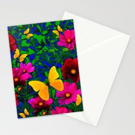 YELLOW BUTTERFLIES PINK COSMOS GREEN ABSTRACT Stationery Cards