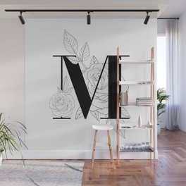 Monogram Letter M with Rose Line Art Wall Mural