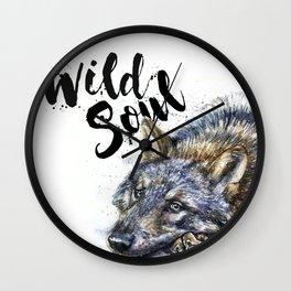 Wolf watercolor painting Wild Soul Kostart Wall Clock