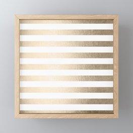 Simply Striped in White Gold Sands Framed Mini Art Print