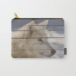 Aries the White Wolf Portrait on Faux Weathered Wood Texture Carry-All Pouch