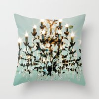 chandelier Throw Pillows featuring Chandelier. by heather cherie