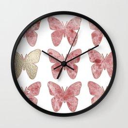Golden rosy mauve butterflies Wall Clock