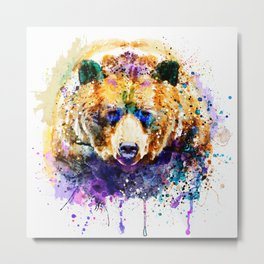 Colorful Grizzly Bear Metal Print