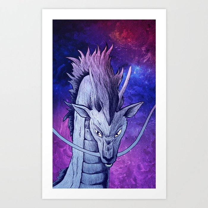 Spirited Away Haku Dragon Portrait Artwork Art Print By Dksartdesign Society6