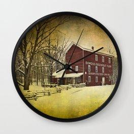 Bowen's Cider Mill during Winter Wall Clock