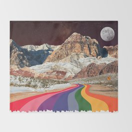 Trippy 1960s Stars and Moon Retro Red Rock Canyon Collage Milky Way Galaxy Colors Throw Blanket
