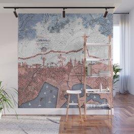 Rio de Janeiro skyline - vintage map Wall Mural