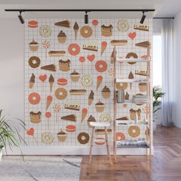 Cute Sweets, Pies, Cakes, Donuts, Eclairs and Pancakes in red and brown Wall Mural
