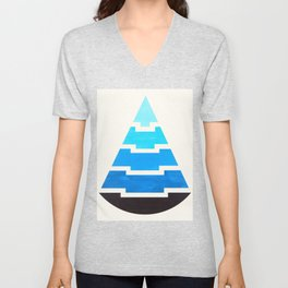 Cerulean Blue Gouache Painting Aztec Minimalist Abstract Geometric Pattern Pyramid Unisex V-Neck