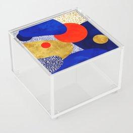 Terrazzo galaxy blue night yellow gold orange Acrylic Box