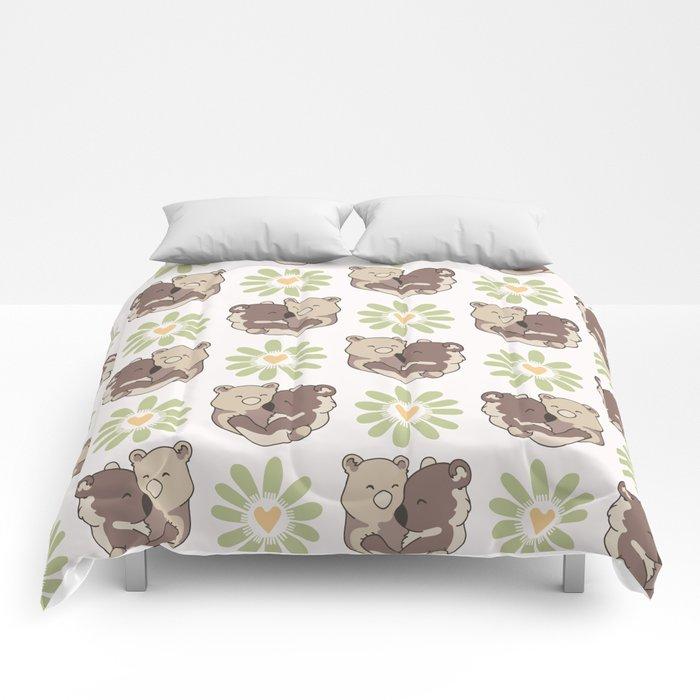 Vector bear hug animals with daisy heart flower Comforters