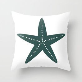 Starfish (Dark Green & White) Throw Pillow