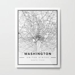Washington Modern Map Metal Print