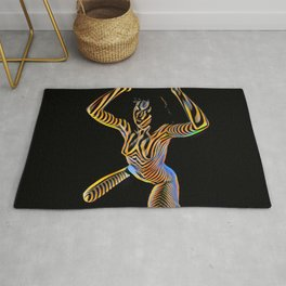 9925S-JPC Kneeling Art Nude Abstract Color Flow Graphic Striped Line Rug