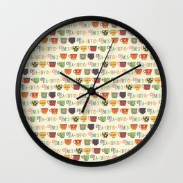 Tea-riffic Times. Retro inspired tea cups - beige Wall Clock