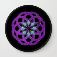 supreme Wall Clocks featuring Flower Supreme by Pedro Vale