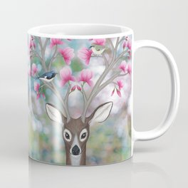 white tailed deer, black throated blue warblers, & magnolia blossoms Coffee Mug