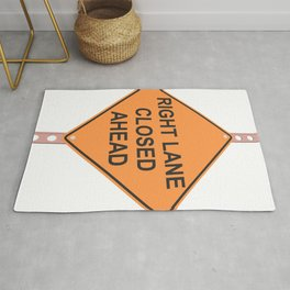 """""""Lane closed ahead"""" - 3d illustration of yellow roadsign isolated on white background Rug"""
