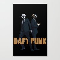 daft punk Canvas Prints featuring Daft Punk by joshuahillustration