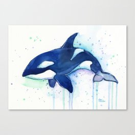 Killer Whale Orca Watercolor Canvas Print
