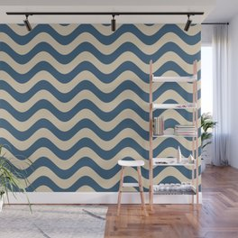 Blue & Beige Rippled Stripes, Wavy Line Pattern Pairs To 2020 Color of the Year Chinese Porcelain Wall Mural