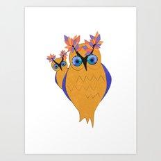 Owls In Celebration Art Print