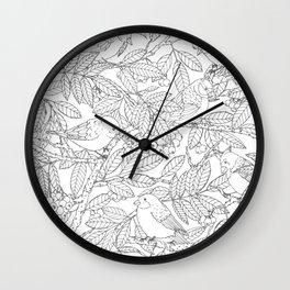 Birds on Rowan Tree Pattern Wall Clock