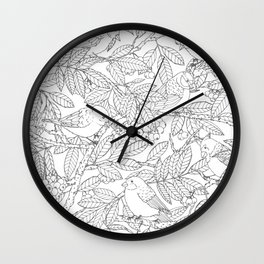 Birds on Rowan Tree Pattern Wall Clock