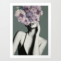 Woman with Flowers Art Print