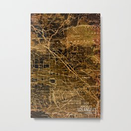 Old map of Los Angeles, year 1966 Metal Print