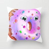donut Throw Pillows featuring Donut by Zaksheuskaya