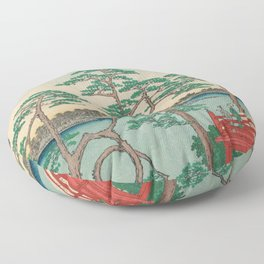 Spring Blossoms and Pond Ukiyo-e Japanese Art Floor Pillow