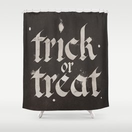Calligraphy Trick or Treat Shower Curtain