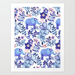 Pale Coral, White and Purple Elephant and Floral Watercolor Pattern Art Print