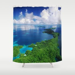 WOW!!! PALAU!! Tropical Island Hideaway Shower Curtain