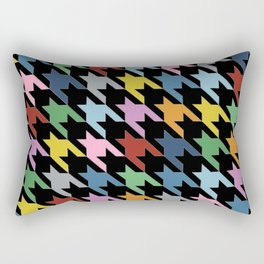 Dogtooth New on Black Rectangular Pillow