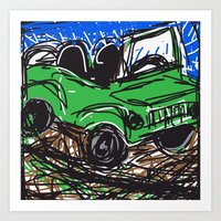 jeep Art Prints featuring jeep by Rimadi
