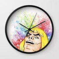 he man Wall Clocks featuring He-Man by Creadoorm