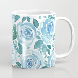 Pale blue roses . Watercolor . Coffee Mug