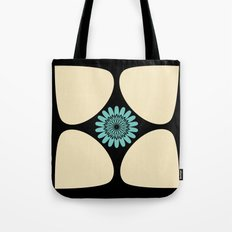 Cream Tear Drop Turquoise Flower Graphic Pattern Tote Bag