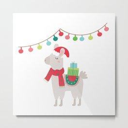 Christmas llamas V Metal Print