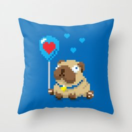 99 Pug Balloons Throw Pillow