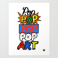 pop art Art Prints featuring Pop, Pop, Pop, Pop Art by Raheem Nelson