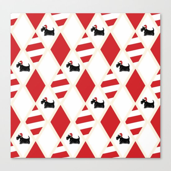 Scottie Dog Christmas Pattern Canvas Print