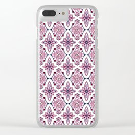Lilac and burgundy flower Moroccan Tiles Clear iPhone Case