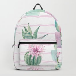 Cute Potted Cacti Stripe Pattern Backpack